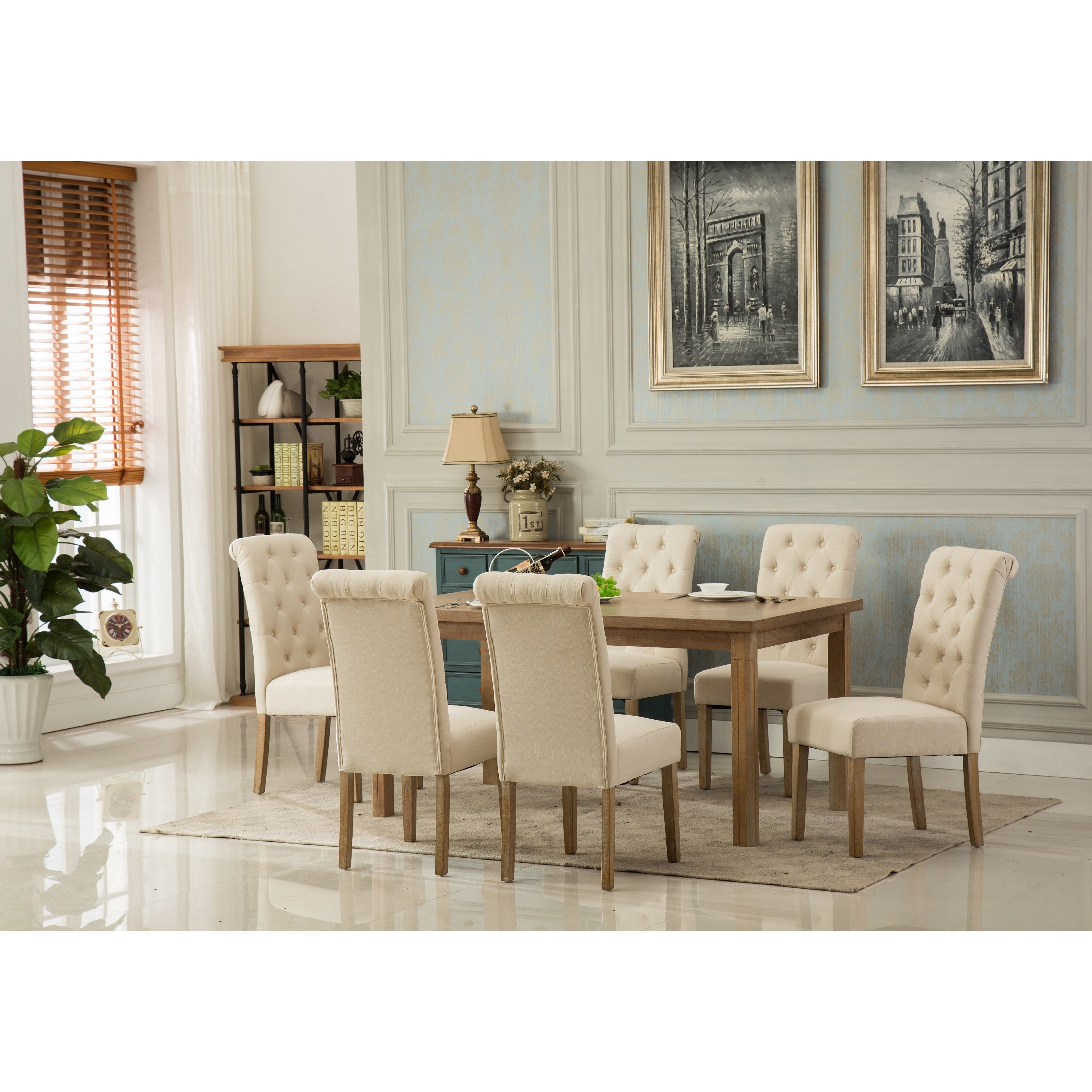 Monotanian Solid Wood Dining Table With 6 Tufted Chairs Overstock 14602686 Grey