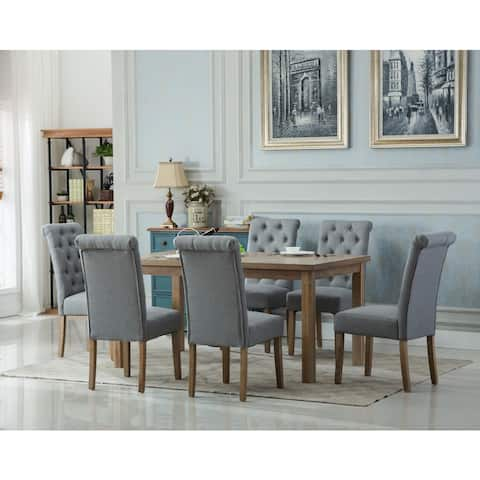 Monotanian Solid Wood Dining Table with 6 tufted Chairs