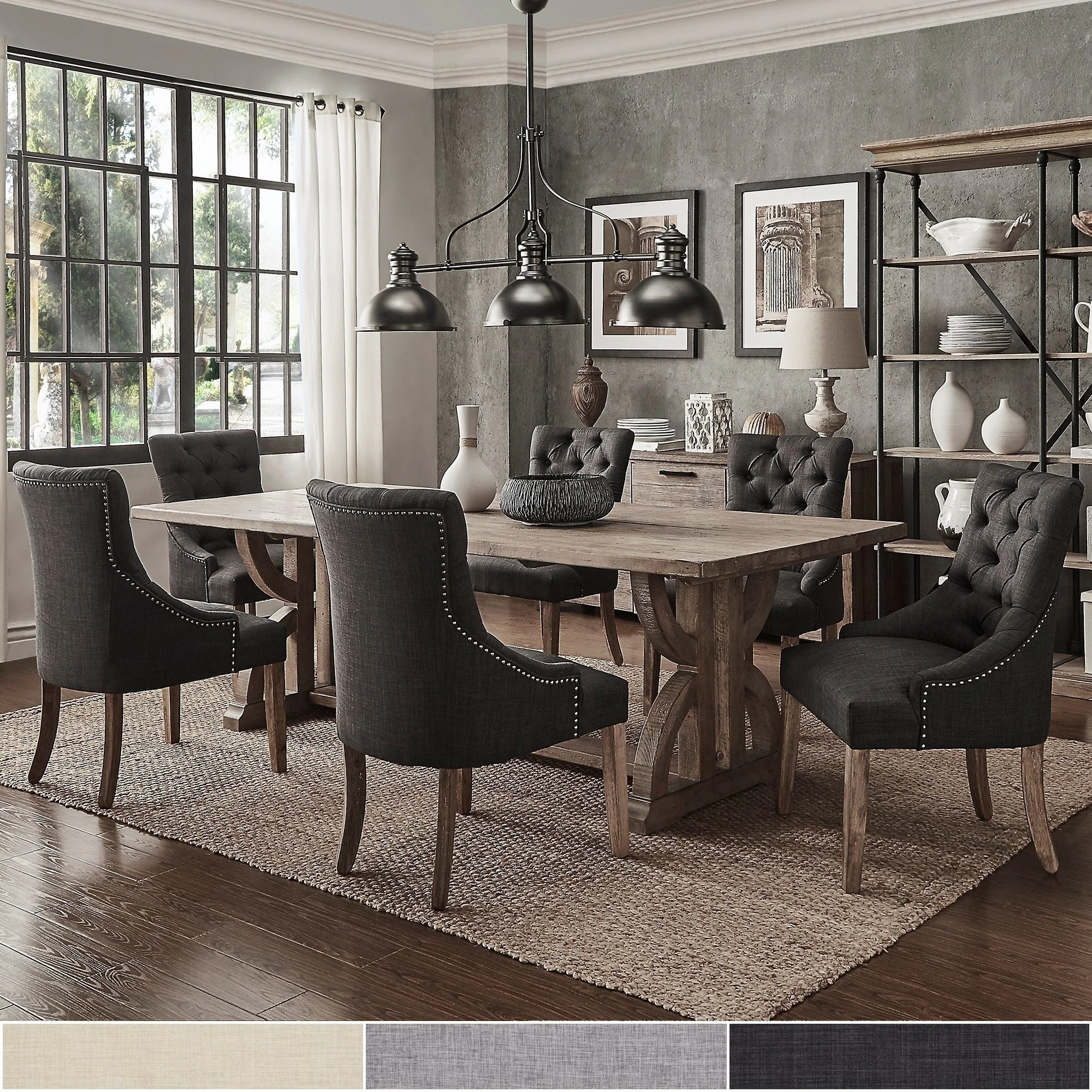 Paloma Salvaged Reclaimed Pine Wood 7 Piece Rectangle Dining Set By INSPIRE  Q Artisan