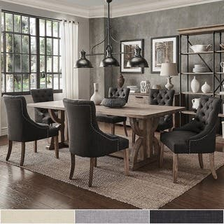paloma salvaged reclaimed pine wood 7 piece rectangle dining set by inspire q artisan - Full Dining Room Sets