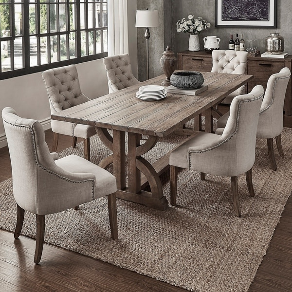 Paloma Salvaged Reclaimed Pine Wood 7 Piece Rectangle Dining Set By I Nspire Q Artisan   Beige Linen by I Nspire Q