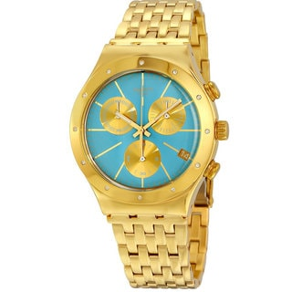 Swatch Turchesa Blue Dial and Goldtone Stainless Steel Watch