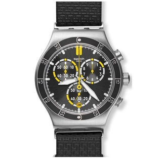 Swatch Orange Teeth Men's YVS422 Chronograph Leather Watch
