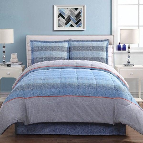 Azores Blue Stripe Microfiber Bed in a Bag