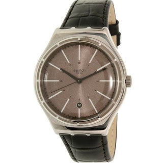 Swatch Black Leather and Stainless Steel Eppendorf Men's Watch