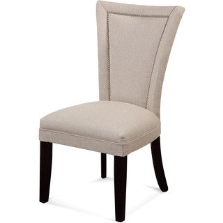 Bassett Mirror Company Natural Linen Flair Parsons Chair with Nailhead Accents (Set of 2)