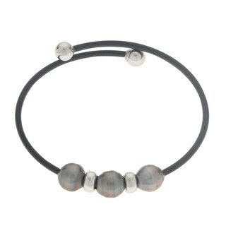 Pearls for You Sterling-silver Tahitian Pearl (8-9 mm) Rubber 7.5-inch Bracelet
