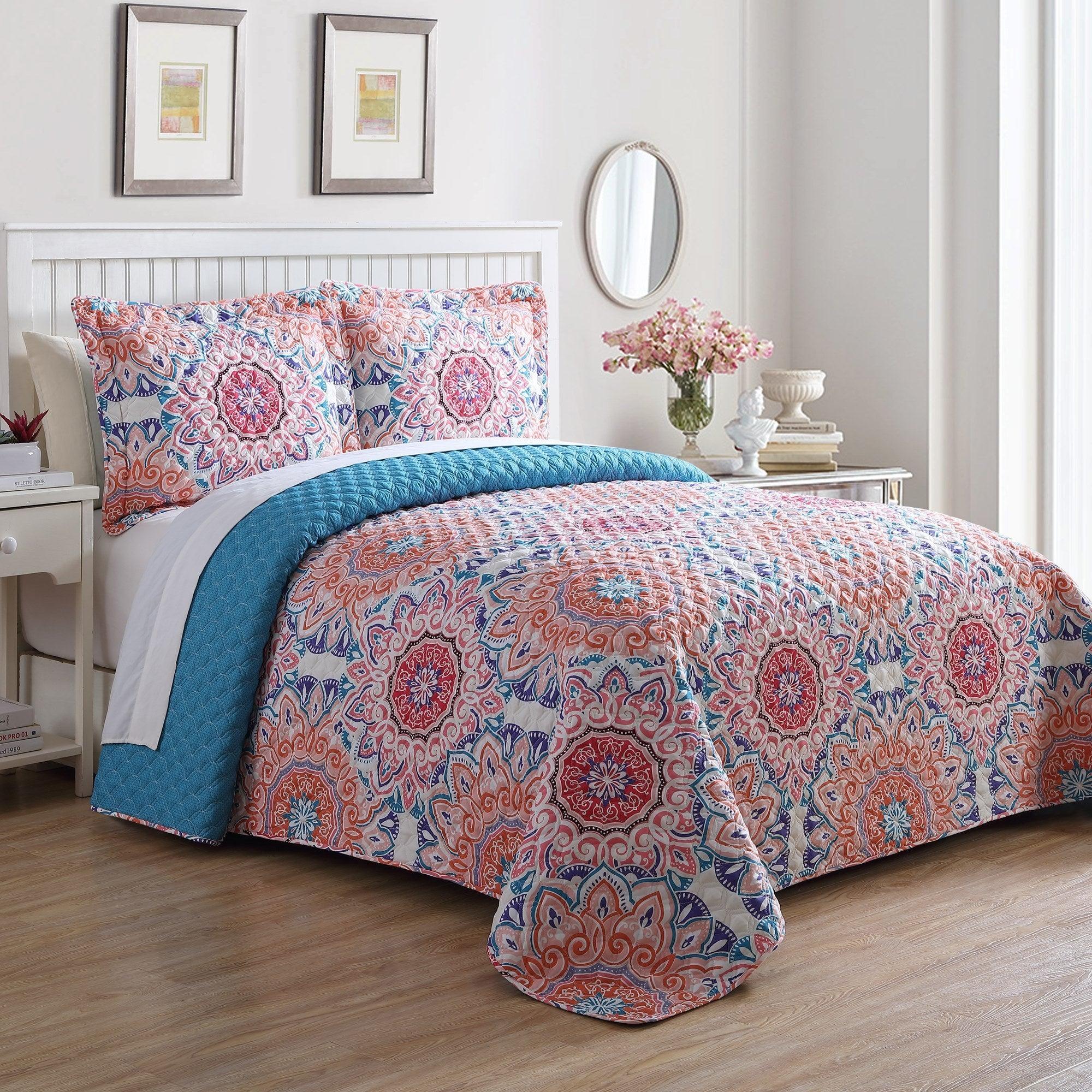 Valentina Tangerine and Aqua Bedspread Set