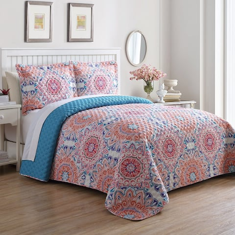 The Curated Nomad Audiffred Tangerine and Aqua Bedspread Set