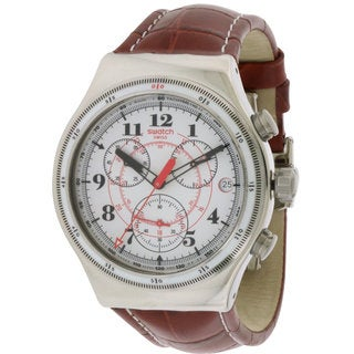 Swatch Men's Back to the Roots Brown Leather and Stainless Steel Watch
