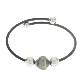 Pearls For You Sterling Silver Tahitian Pearl 7.5-inch Rubber Bracelet (10-11 mm)