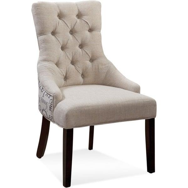 Bett Mirror Company Fortnum Tufted Nailhead Script Fabric Parsons Chairs