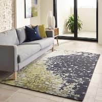 Momeni Zen Green/Blue/Ivory Wool/Viscose Hand-tufted Area Rug - 5' x 8'