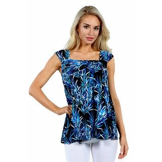 24/7 Comfort Apparel Blue Night Rayon from Bamboo Sleeveless Tunic Top