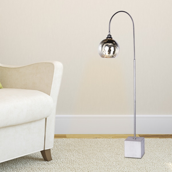 Fangio Lighting's #1542 69 inch Arched Dark Silver Metal and Glass Floor Lamp with Modern Concrete Base