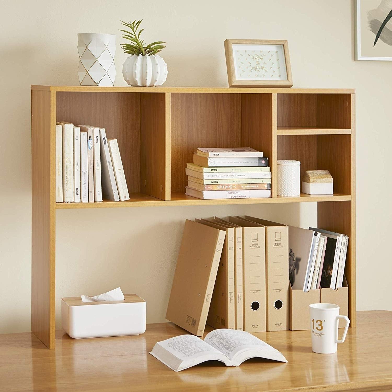 Beech (Natural Wood) The Cube - Desk Bookshelf (Beech), B...