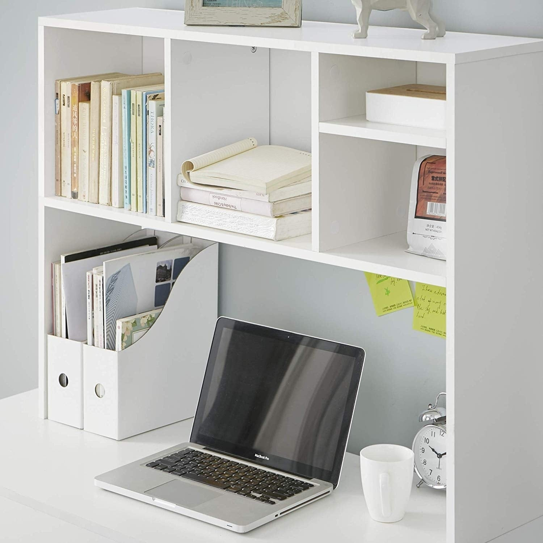 DormCo Cube White Wood Desk Bookshelf (White)