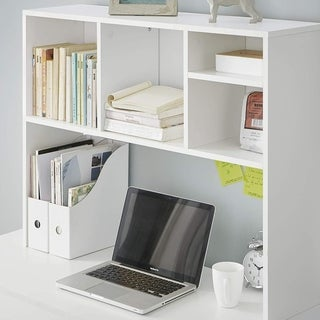 DormCo Cube White Wood Desk Bookshelf