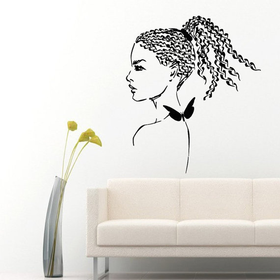 Butterfly Braiding Beauty Salon Decor Home Vinyl Art Wall Decor Girl  Bathroom Nursery Decor Sticker Decal