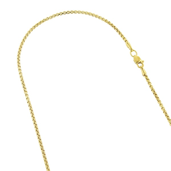Luxurman 14K Solid White or Yellow Gold 1.7mm Wide 16-inch to 24-inch Shiny Round Lobster Clasp Box Chain Necklace