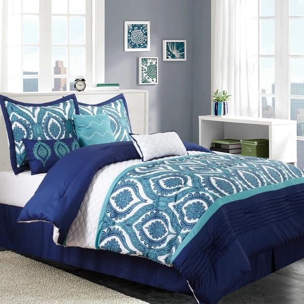 Odessa Blue Print 7-piece Comforter Set