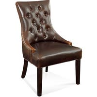 Bassett Mirror Company Fortnum Brown Leather Tufted Nailhead Parsons Chair