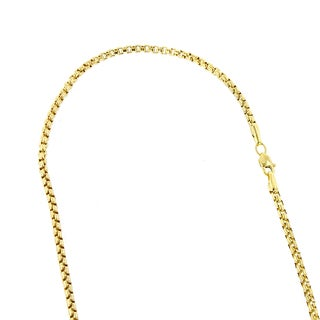 Luxurman 14k Solid White/ Yellow Gold Shiny Round Box Chain 16 to 24-inch Lobster Clasp Necklace