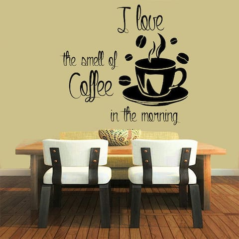 Quotes I Love The Smell of Coffee in The Morning Kitchen Decor Home Vinyl Art Decor Nursery Sticker Decal size 22x22 Color Black