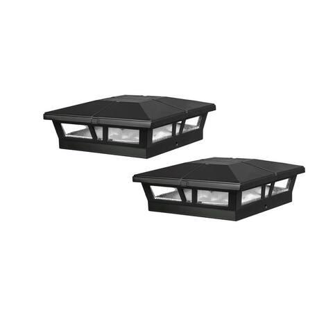 Classy Caps 6x6 Black Aluminum Cambridge Solar Post Cap (Set of 2)