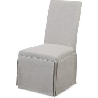 Bassett Mirror Company Grey Linen Skirted Parsons Chair