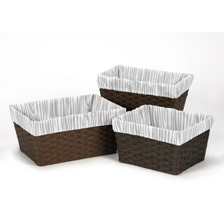 Sweet Jojo Designs Coral and Mint Woodsy Collection Grey Microfiber 3-piece Basket Liner Set