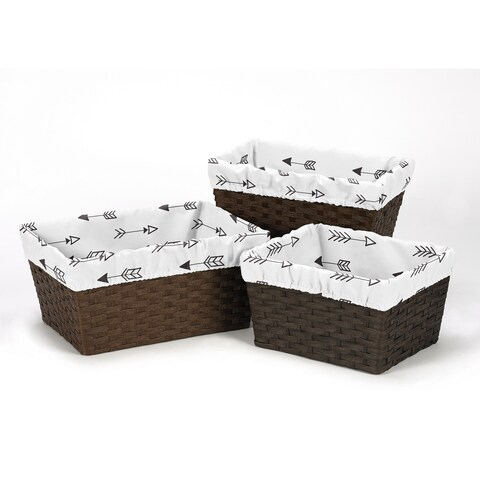 Sweet Jojo Designs Black and White Fox Collection Arrow Print Basket Liners (Pack of 3)