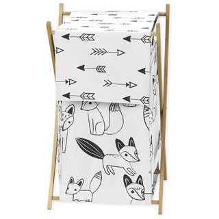 Sweet Jojo Designs Black and White Fox Collection Wood and Fabric Laundry Hamper