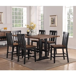 Saatly Brown Finish 7-Piece Counter Height Dining Set