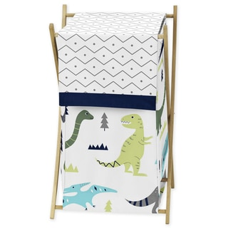 Sweet Jojo Designs Blue and Green Mod Dinosaur Collection Laundry Hamper (Option: Green)