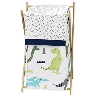 Sweet Jojo Designs Blue and Green Mod Dinosaur Collection Laundry Hamper