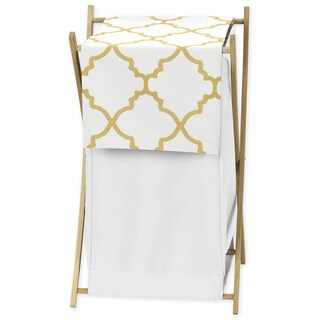 Sweet Jojo Designs White and Gold Trellis Collection Laundry Hamper