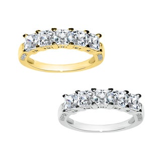 14k Yellow or White Gold 3 Row Prong-Set Cubic Zirconia Ring