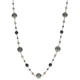 Pearls for You Sterling-silver Tahitian Pearl (9-11 mm) Black Agate and Smokey Quartz 25-inch Necklace