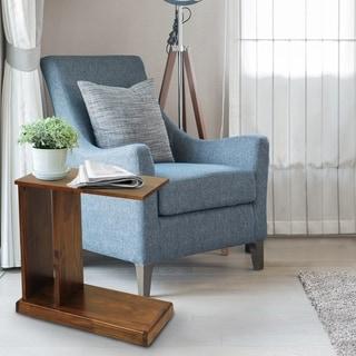 Modern Warm Brown C-shape End Table