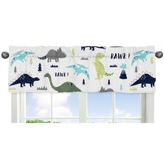 Sweet Jojo Designs Blue and Green Mod Dinosaur Collection Multicolor Multifiber Window Valance