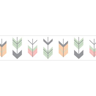 Sweet Jojo Designs for the Coral and Mint Mod Arrow Collection Prepasted Wall Paper Border