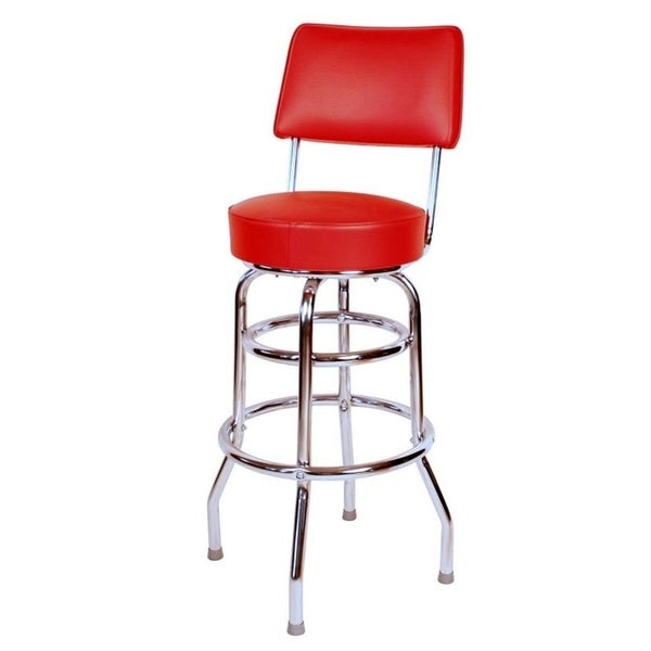 Richardson Seating Retro Home Red Vinyl And Chrome 30 Inch Cushioned Swivel Bar Stool