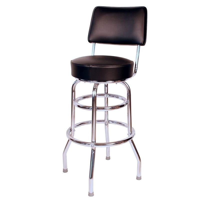 Surprising Richardson Seating Retro Home Black Vinyl And Chrome 30 Inch Cushioned Swivel Bar Stool Pabps2019 Chair Design Images Pabps2019Com
