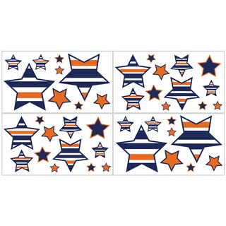 Sweet Jojo Designs Navy Blue/Orange Stripe Collection Wall Decal Stickers