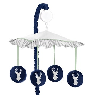 Sweet Jojo Designs Navy and Mint Woodsy Collection Multicolored Fabric Musical Mobile