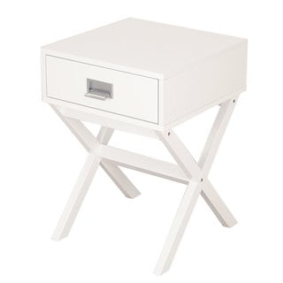 Adeco Cross Leg Wooden Side Table with Drawer