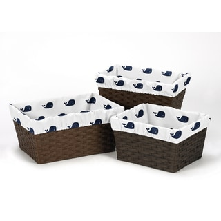 Sweet Jojo Designs Whale Collection Basket Liners (Pack of 3)