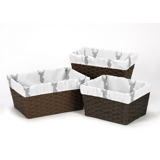 Sweet Jojo Designs Basket Liners for the Grey and White Stag Collection (Pack of 3)