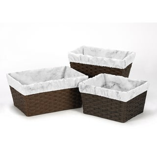 Sweet Jojo Designs Black and White Marble Collection Basket Liners (Pack of 3)